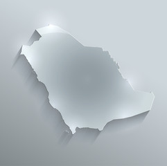 Saudi Arabia map glass card paper 3D