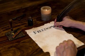 Freiheitserklaerung auf Pergament