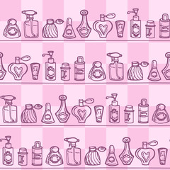 Seamless pattern with perfume bottles for bathroom