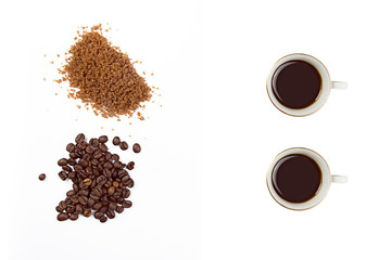 Roasted Coffee and Brown Sugar isolated on White
