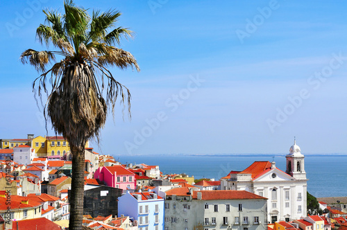 Alfama and the Tagus River in Lisbon, Portugal