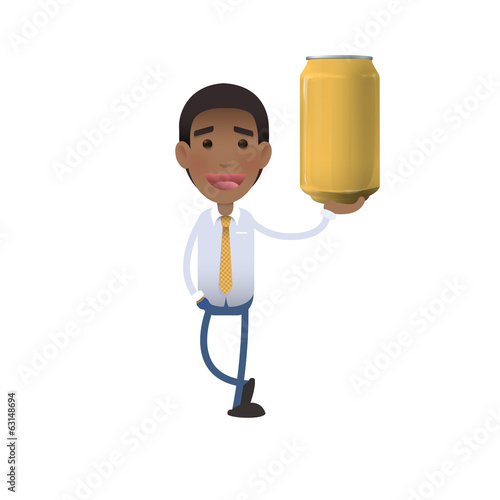 Businessman holding a yellow tin