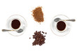 Two cups of Coffee with Coffee Beans and Brown Sugar