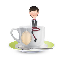 Businessman on cup of coffee