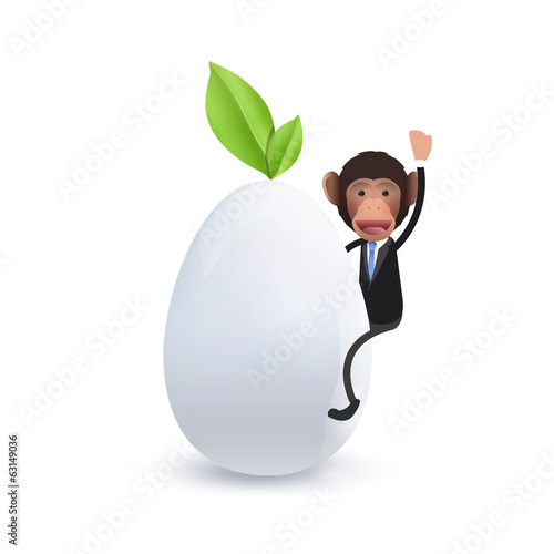 Businessman on biologic egg