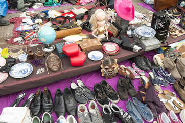 Market stall at the flea market at Waterlooplein in Amsterdam, N