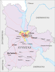Map of Kiev Oblast and city of Kiev