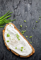 Cream cheese topping with chopped chives
