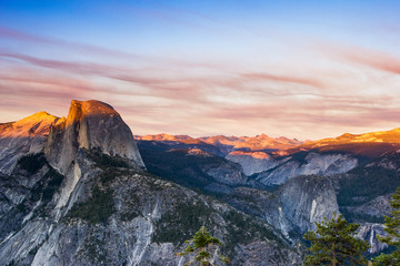 Glacier Point, Yosemite National Park at sunset, Half Dome