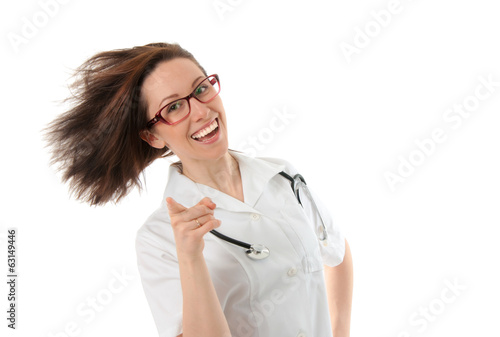 Happy smiling medical woman doctor