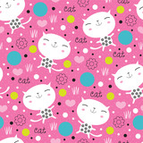 Fototapety cute floral cat pattern vector illustration
