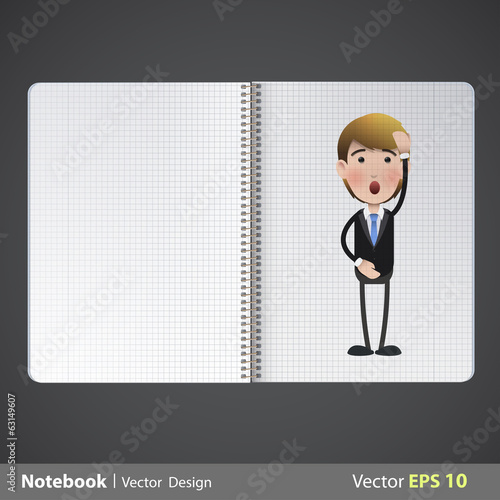 Businessman printed on realistic book. Vector design