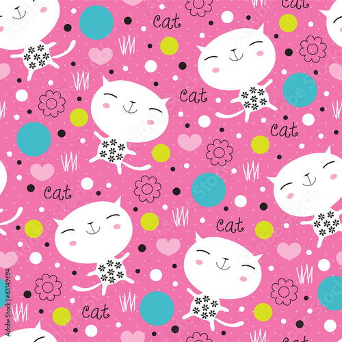 cute floral cat pattern vector illustration