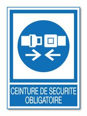 Panneau ceinture de sécurité obligatoire.