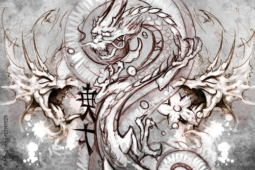 Dragons Tattoo design over grey background. textured backdrop. A
