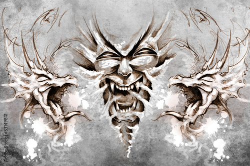 Nightmare Tattoo design over grey background. textured backdrop.