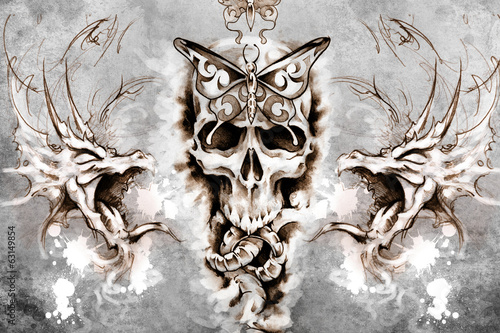 Death Tattoo design over grey background. textured backdrop. Art