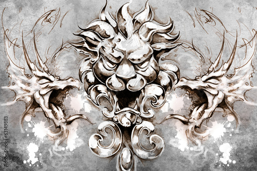 Lion head Tattoo design over grey background. textured backdrop.