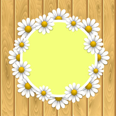 Floral background with daisy on the wooden texture