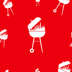 Red barbecue seamless pattern.