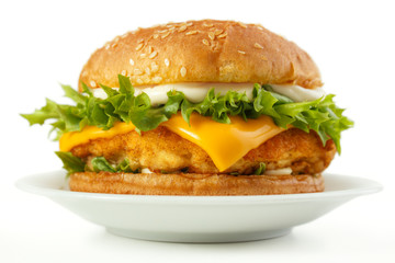 Fish burger with cheese and mayonnaise on dish