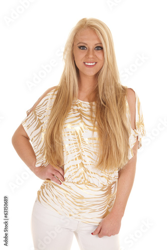 woman gold zebra shirt hand down smile
