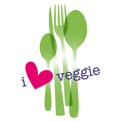 i love veggie,heart,knife,fork,spoon
