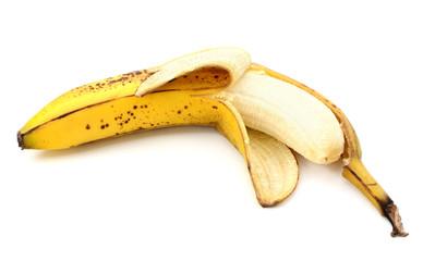 Half-peeled ripe banana