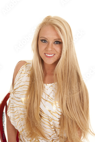 woman gold zebra shirt sit smile