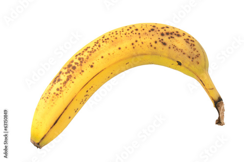 Overripe banana with spotty skin
