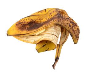 Discarded spotted overripe banana skin
