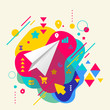 Paper airplane on abstract colorful spotted background with diff