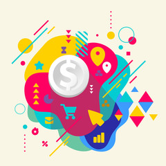 Dollar on abstract colorful spotted background with different el