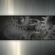 Grunge metal gears background