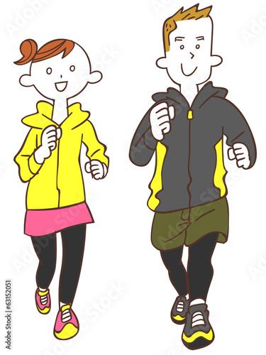 ジョギングする若い男性と女性