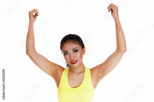 Girl showing her biceps.