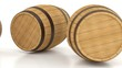 Rolling wooden barrels with wine or beer