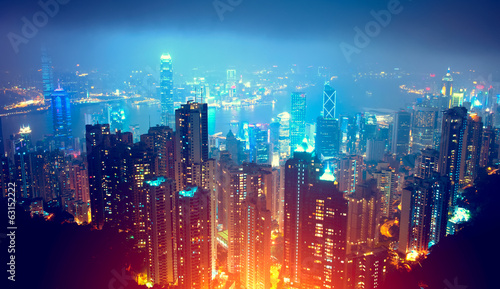Spoed canvasdoek 2cm dik Hong-Kong Hong Kong Night View