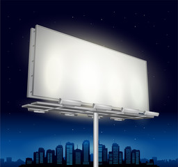 Vector highway ad billboard roadside at night