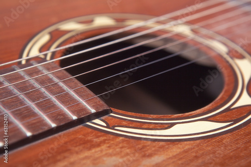 Close up of a old western guitar