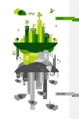 Green environment city concept illustration