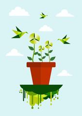 Green environment clean energy concept
