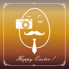 Happy hipster easter egg card