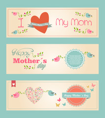 Retro cute Happy Mothers day banners set