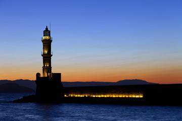 Chania lighthouse at sunset. Crete. Greece.