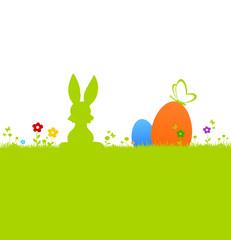 Osterwiese mit bunten Eiern