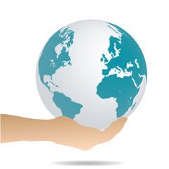 Hand Holding Earth, Illustration