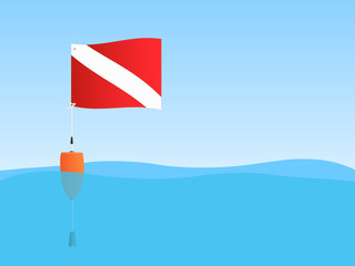 Scuba Flag Floating, Illustration