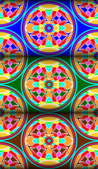 Colorful water lily circle pattern
