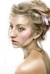 Beautiful woman with fresh shiny skin, sensual lips and romantic